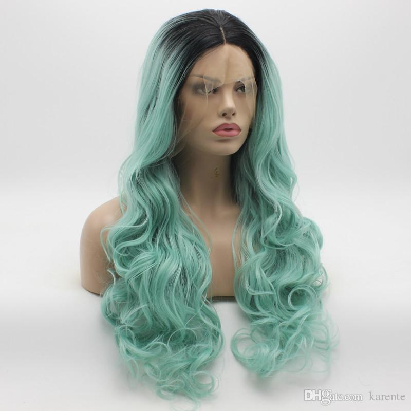 Iwona Cheveux Ondulés Longue Racine Foncée Bleu Clair Ombre Perruque