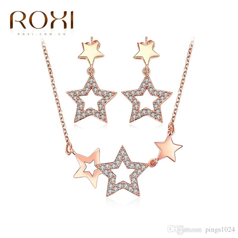 ROXI Charms Bright Stars Stud Earrings/Chain Necklace Fashion Jewellery Set Rose Gold Plated Wedding Pendant Gift
