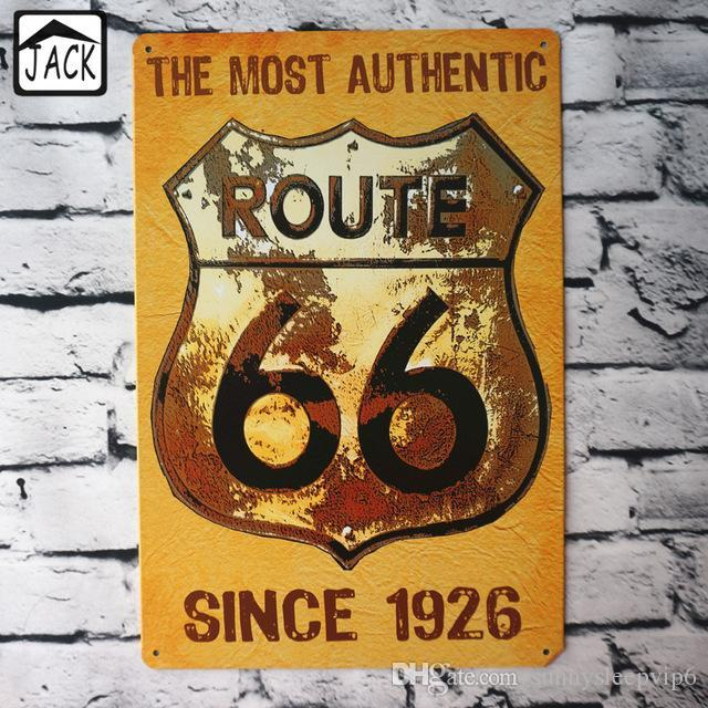THE MOST AUTHENTIC ROUTE 66 SINCE 1926 20*30 CM vintage tin signs Bar Home  Lounge Room Wall Decor Metal Plaques Iron Plate