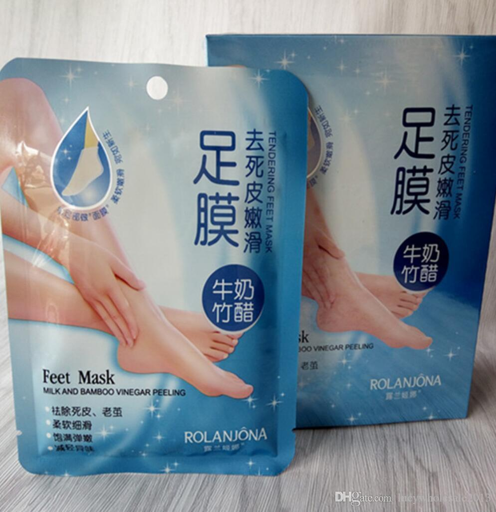 Livre DHL 360 pçs / lote ROLANJONA pés máscara de Leite e Vinagre De Bambu Pés Máscara Peeling com a pele Esfoliante regime para os Pés cuidados