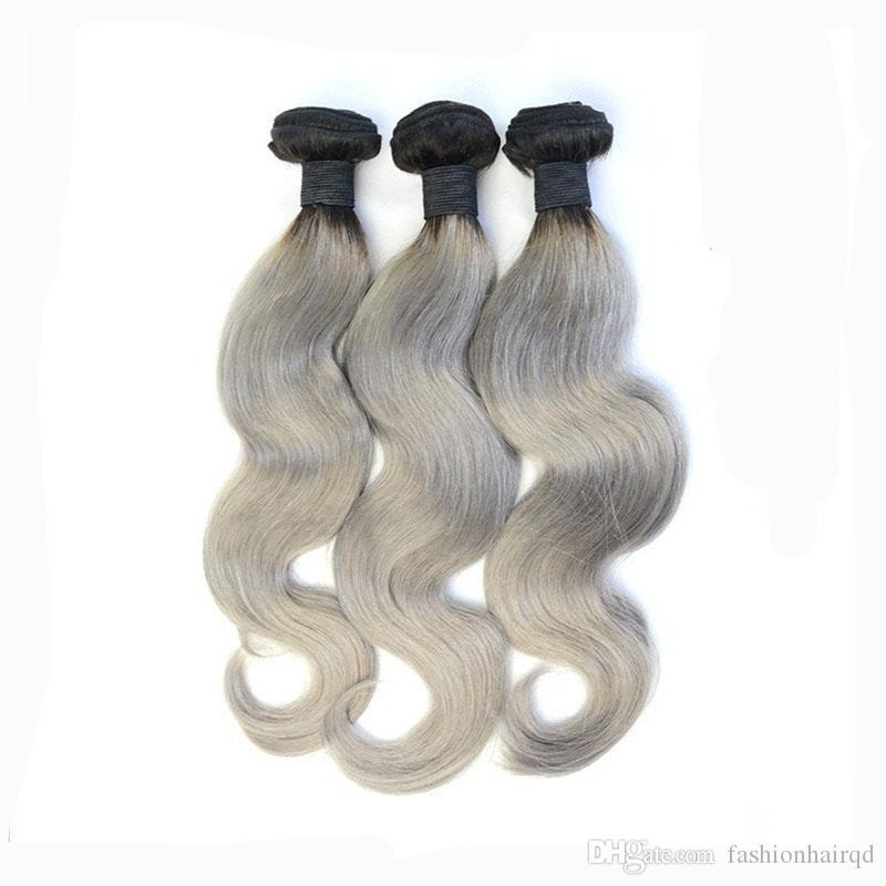 Two Tone Brazilian Peruvian Indian Malaysian Human Hair Bundles T1b Grey Ombre Virgin Hair Weaves Body Wave 10-30 inch
