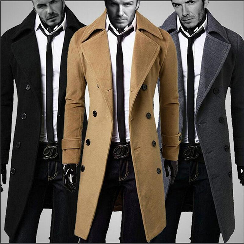 2018 Wholesale Cheap Male Pea Coat Jacket Double Breasted ...