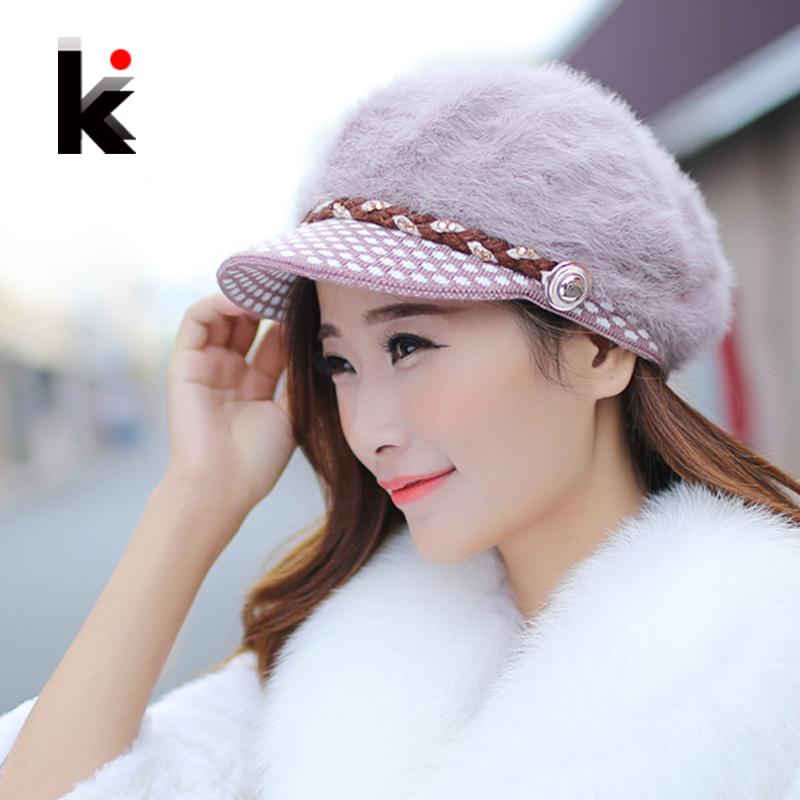 ea15484b57b 2019 Wholesale Winter Hats For Women S Berets Caps Fashion Rabbit Fur Warm  Autumn And Winter Wool Hat Casual Knitted Cap Female From Heheda1