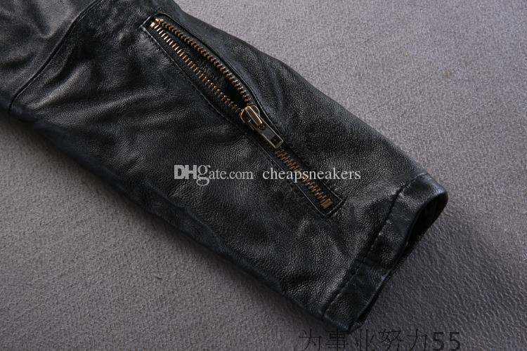 black AVIREXFLY Man Motorcycle clothing slim motor leather Jacket with hooded flight Suit sheepskin genuine leather