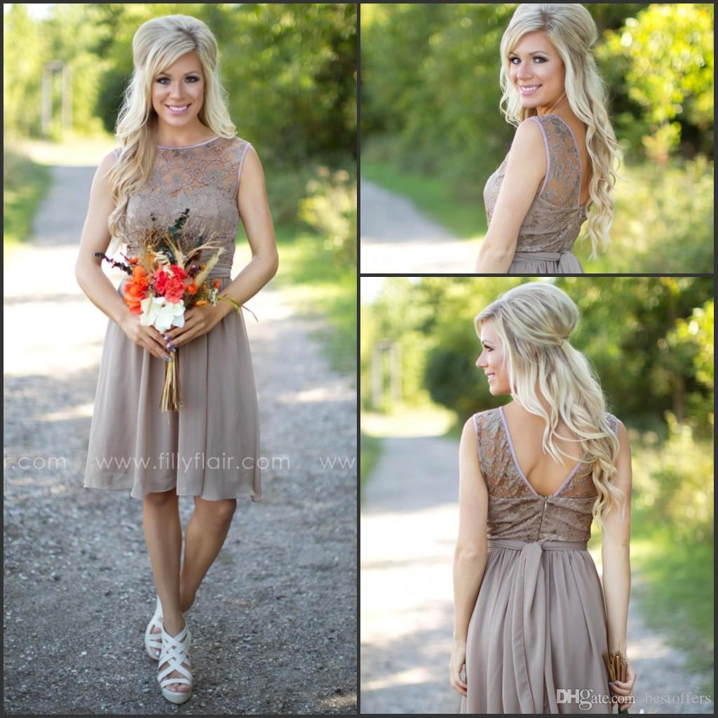 2017 fashion country style bridesmaid dresses new short for 2017 fashion country style bridesmaid dresses new short for weddings chiffon beach lace knee length cheap with sash maid of honor gowns ba29 bridesmaid ombrellifo Choice Image