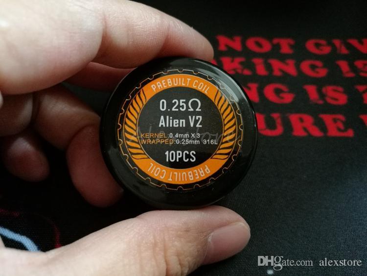 Alien v2.0 Bobine Wire 0.25ohm 0.4mm * 3 + 0.25mm Acciaio inossidabile 316L Materiale Wave Flat Clapton Premade Wrap Cavi precablati RDA RBA