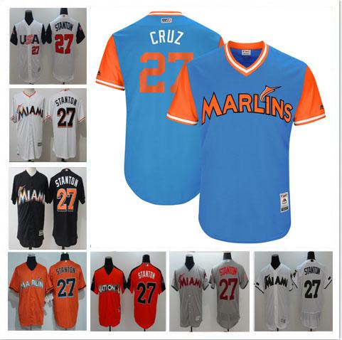 2b6955d57 ... Newest Miami Marlins 27 Giancarlo Stanton Jersey All Star Stitched  Cooperstown Vintage Baseball Jerseys Flexbase CoolBase ...