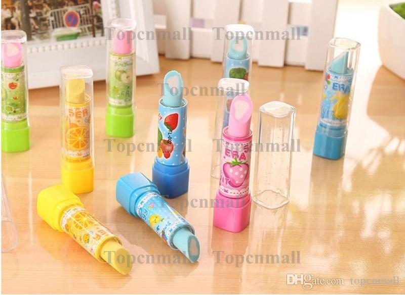 Lipstick Shape Rotary Rubber Eraser Kawaii Stationery Children Stundent Prize Hello Kitty Fruit Cartoon Style Erasers Office School Supplies