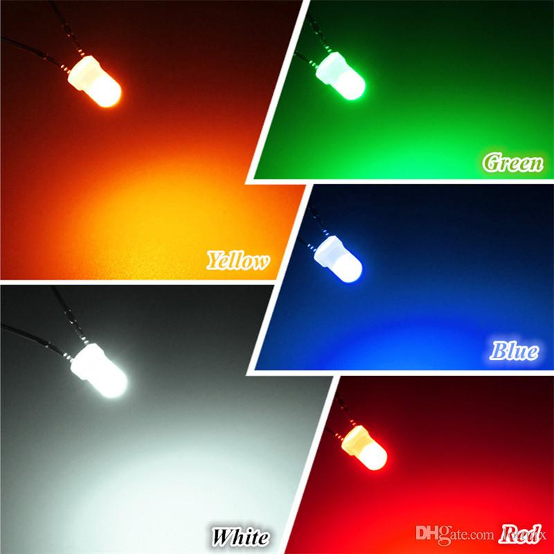 Wholesale Price 3mm/5mm Round Top Milky Diffused LED Emitter Diodes Light DIY LEDs Set Red/Green/Blue/Yellow/White