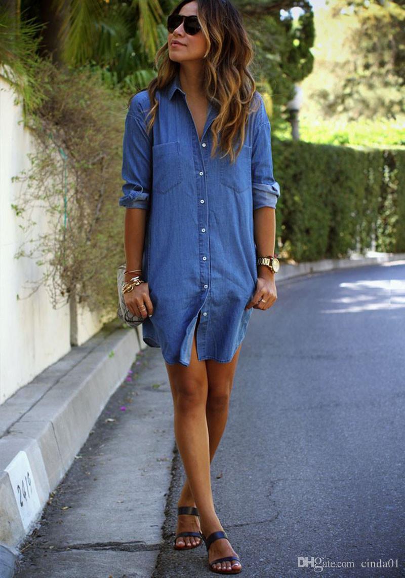 Sommert-shirt Kleid für beiläufige Kleider des Frauendenims lösen langärmlige Knopfdesignerkleidkleidung des Frühlingsherbstes