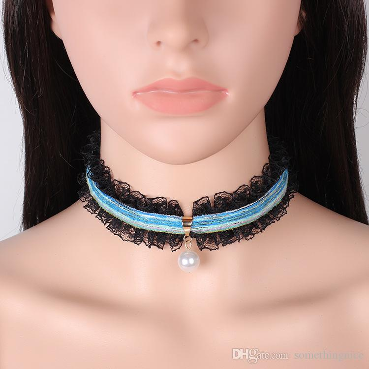 New Fashion Jewelry Gothic Multiple Colors Sponge and Black Lace Choker Pearl Pendant Necklace For Women Cheap Jewelry Collar Wholesale NICE