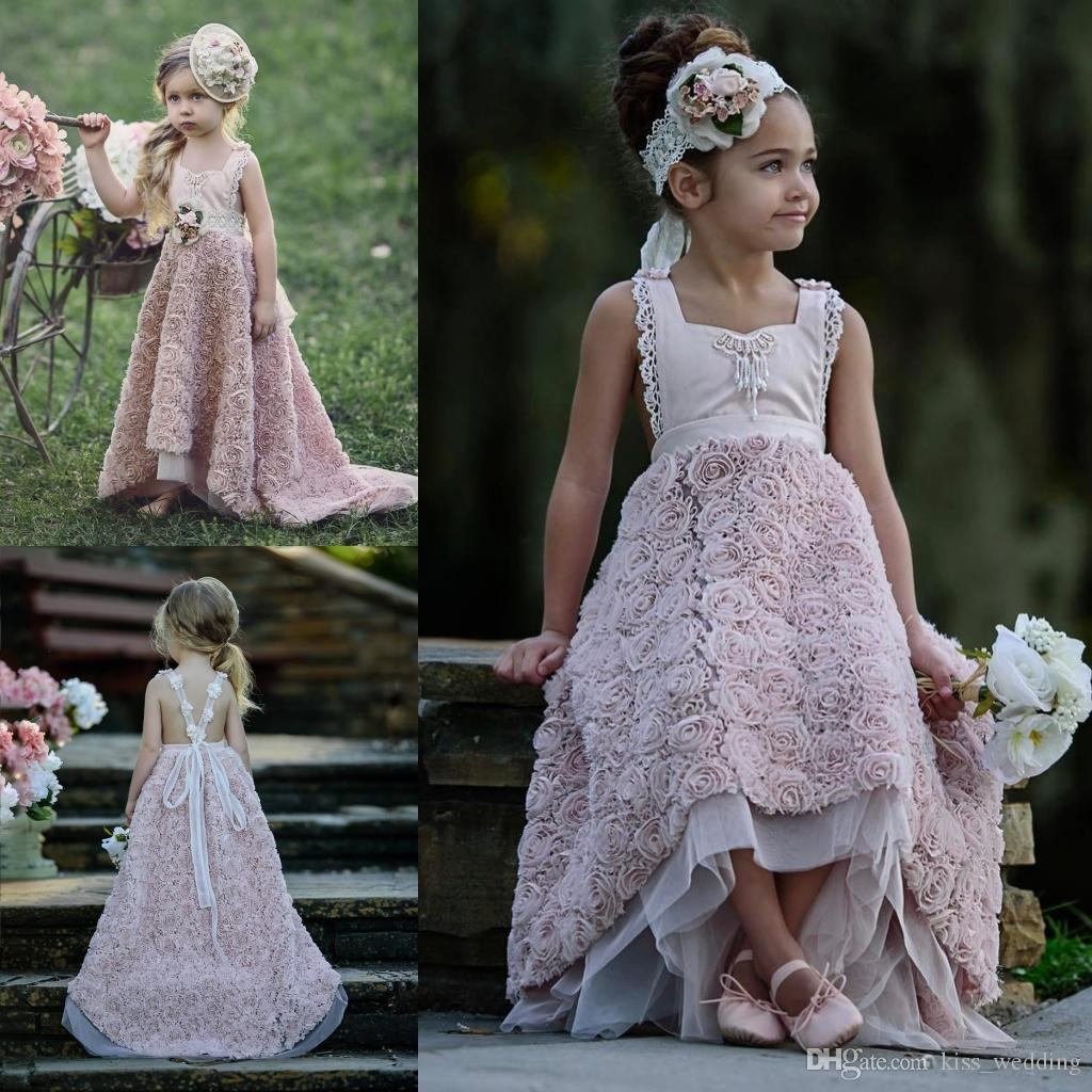 Romantic flowers junior bridesmaid dresses for weddings long romantic flowers junior bridesmaid dresses for weddings long graduation gown children cross belt open back prom dress girls hi lo maxi dresses dress from ombrellifo Image collections