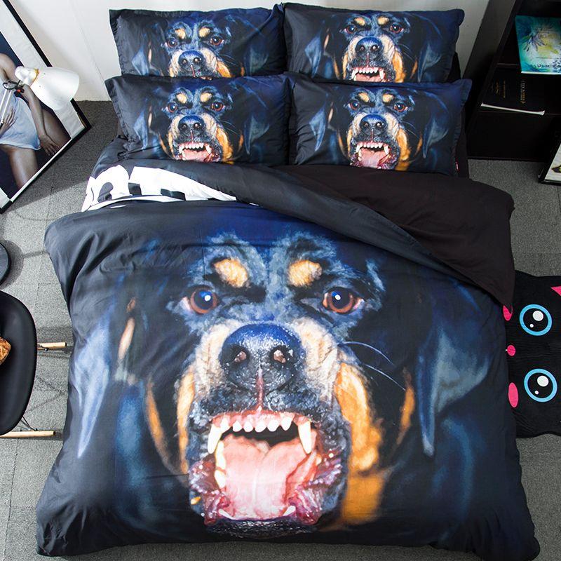 Rottweiler Dog Pattern Bedding Set Brushed Printing 15m Bed Cartoon