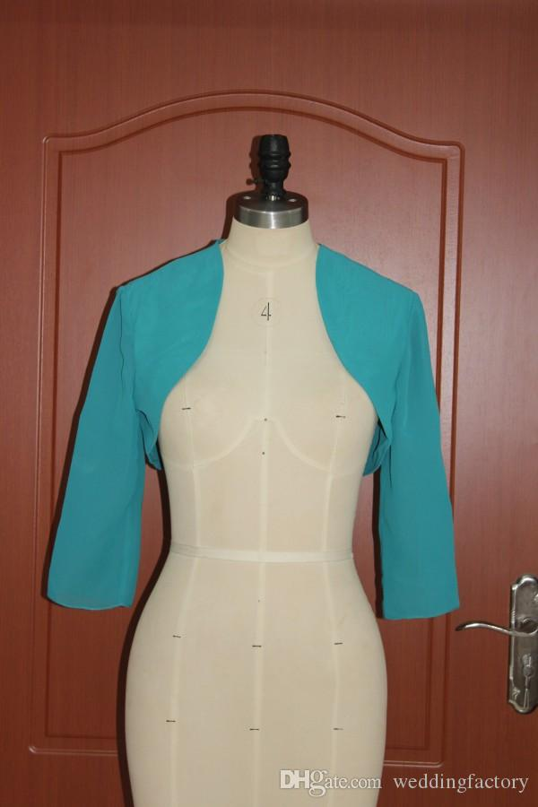 Real Image Teal Chiffon Bolero Wedding Evening Party Bridal Jackets Shrugs Cheap Custom Made Mini Jacket