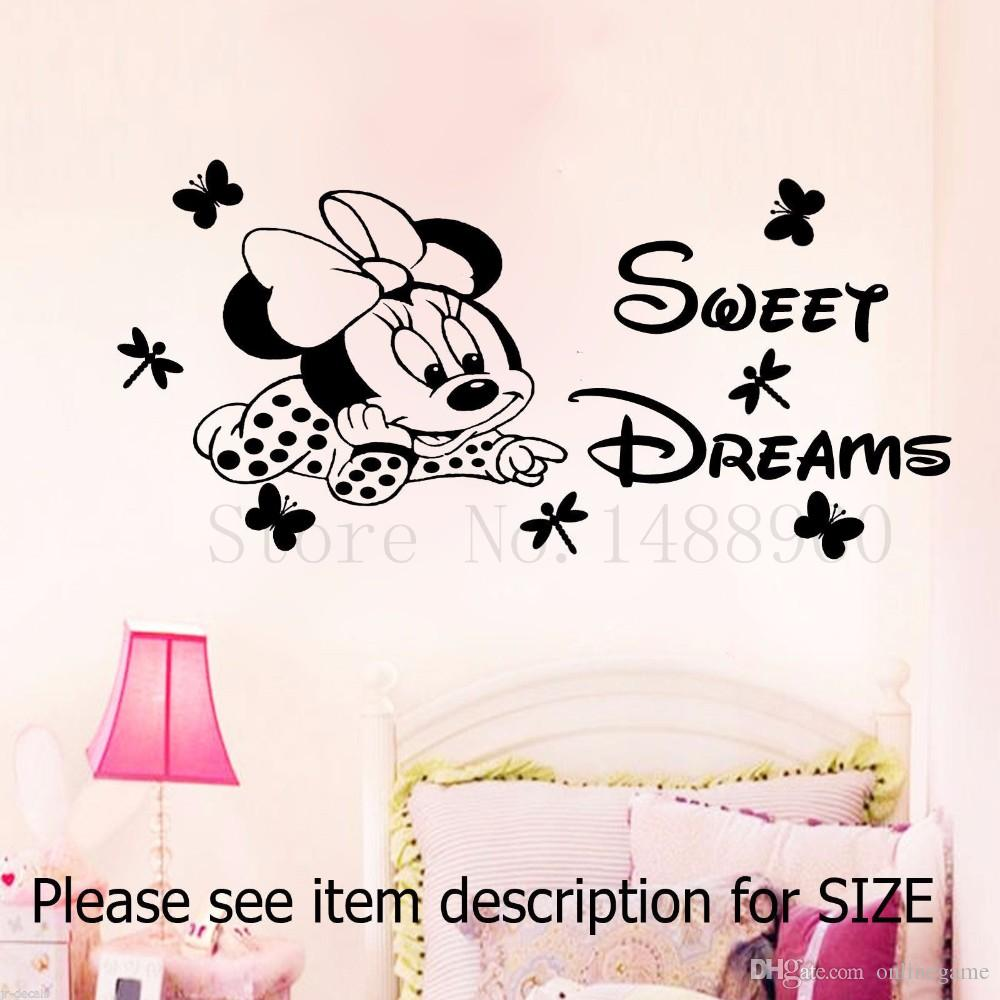 Mickey Minnie Sweet Dreams Butterfly Dragonfly Wall Stickers Home Decor  Decal Diy Poster Girl Kids Room Nursery 30*72 Wall Decals For Home  Decorating Wall ...