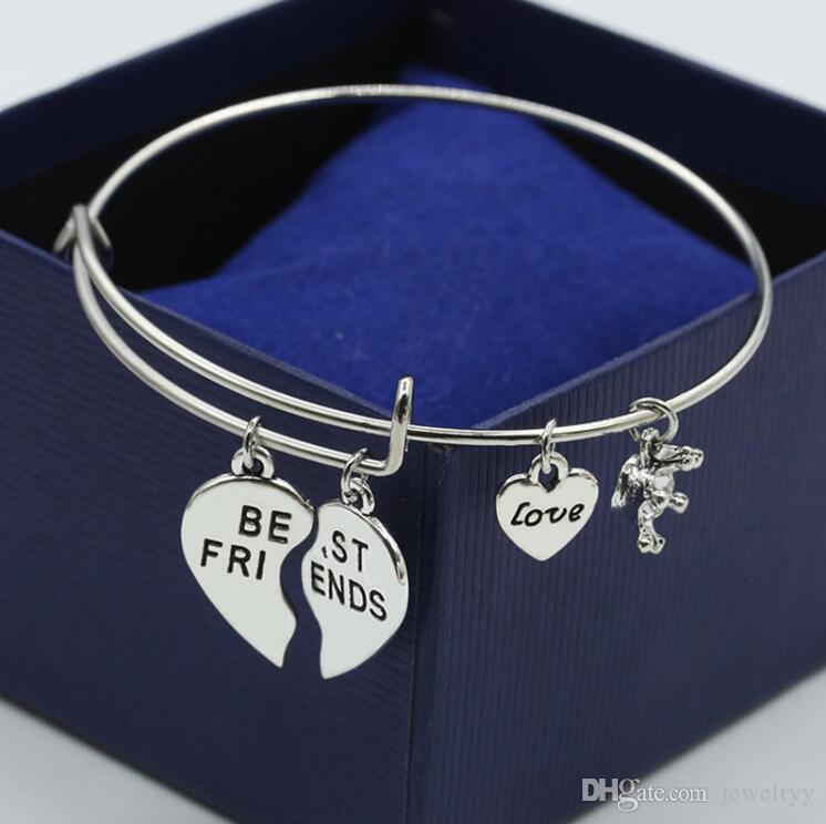 Vendita calda Broken Heart Best Friends Bracciale Lega Love Heart Bangles Wristband Gioielli Amicizia Regalo donna e uomo