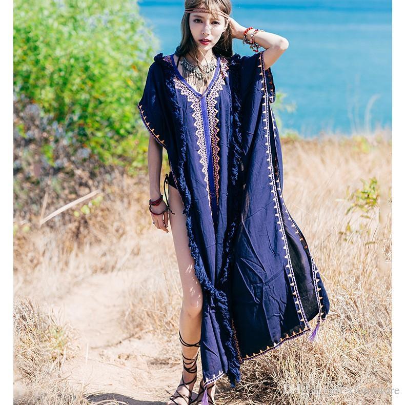 82dc893591 2019 Beach Bohemia Women's maxi Tunic dress sexy embroidery Ruffles cloak  sleeves with slit boho chic moroccan Kaftan robes brand clothing