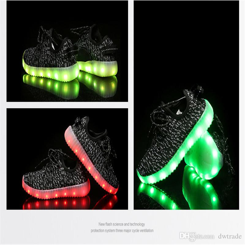 Fast DHL Shipping Kids LED Shoes light colorful Flashing Shoes with USB Charge Unisex Fluorescent light Up Shoe Athletic Shoes