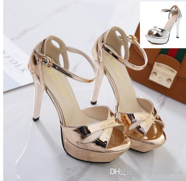 a6b4e579ad99 2017 Champagne Silver Bride Wedding Shoes Thin High Heels Platform Sandals  Women Party Prom Club Wear Size 34 To 39 Online Clothes Shopping Designer  Shoes ...