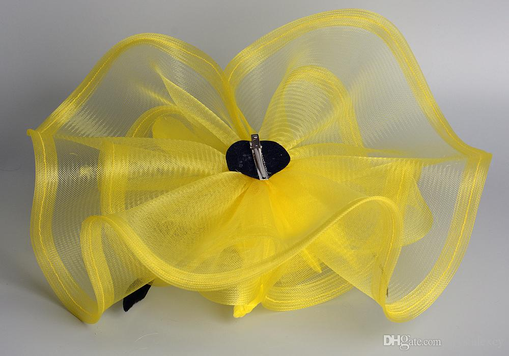 Yellow Color Fashion Lady Girl Woman Popular Large Fascinator Veil Net Hat Hair Clip Feathers For Wedding Party Hari Pin Decor Races