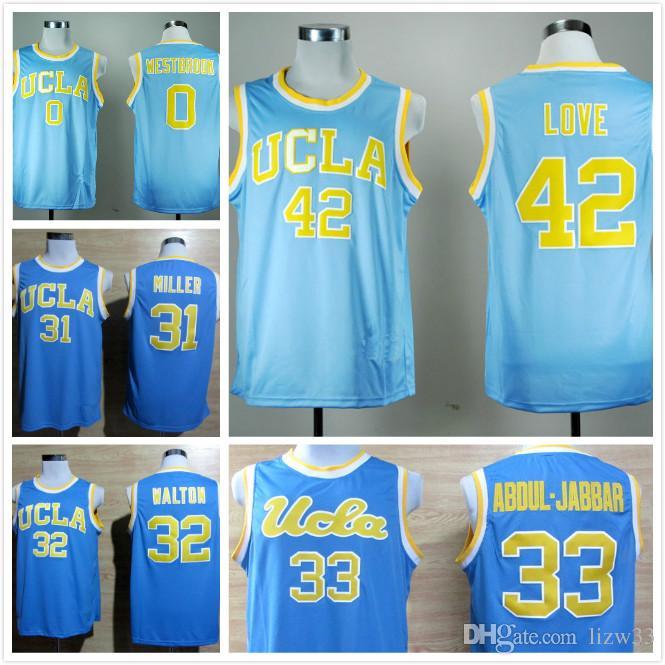 f4a62b278597 ... Embroidery Stitched Basketball Jersey Size S-XXXL UCLA Bruins College Basketball  Jerseys 42 Kevin Love 33 Kareem Abdul Jabbar 0 Russell Westbrook 31 ...