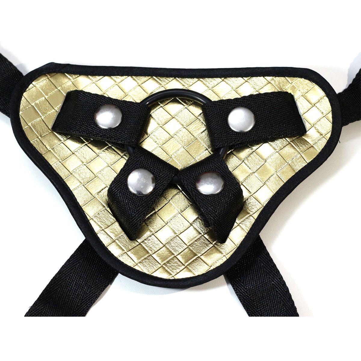 cinturino in ecopelle fantasia dorata con cinturino in vera pelle donna uomo con tre anelli di diverse dimensioni con strapon dildo coppie