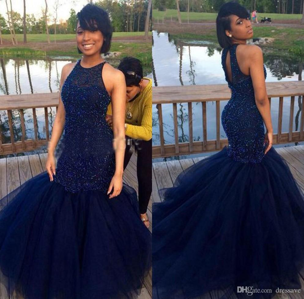 b860b26f235d Gorgeous Navy Blue Mermaid Prom Dresses Long Party Evening Dress Halter  Tulle Pearls Back Zipper Court Train Custom Made Short Formal Dress Short  Gowns From ...