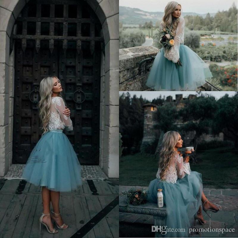 2017 белый и мятный кружева две пьесы с длинным рукавом короткие платья выпускного вечера иллюзия Boho платья выпускные Модные вечерние платья дешевые