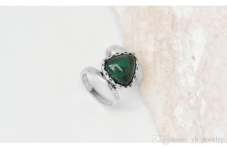Europa USA Fashion Brand Design Nationalen Wind Retro Style Tibetischen Silber Naturstein Ring Fabrik Direkt Großhandel Freies DHL Verschiffen