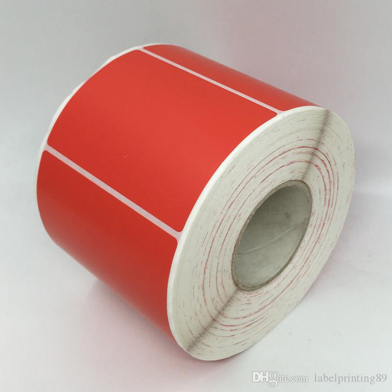 80*40mm 1000pcs/roll full color blank paper sticker rectangle self adhesive  sticker market barcode classify sticker