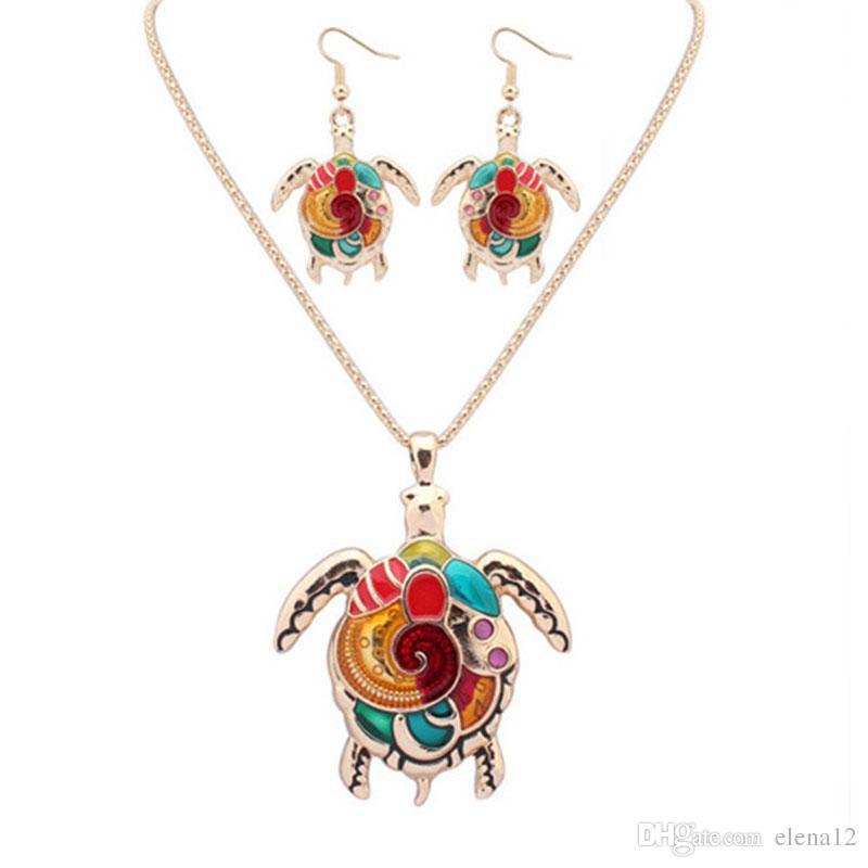 Lovely Rainbow Turtle Boucles d'oreilles et Pendentif Colliers, Peinture Art Ensembles bijoux Bohemia Style Pour Femmes Filles bijoux animaux 161920