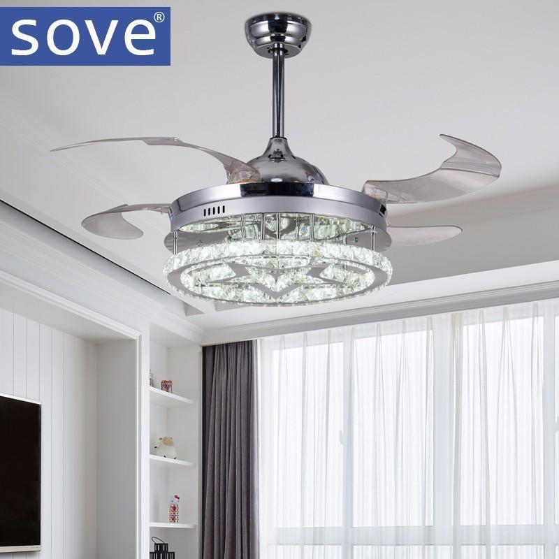 compre ventiladores de techo cristalinos llevados modernos de 42