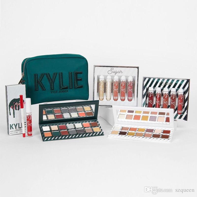 Kylie Jenner Kyshadow Kit Xmas Holiday Collection Set Naughty & Nice Eyeshadow The Wet Set Velvet Liquid Lipsticks & Lip Liner Makeup Box