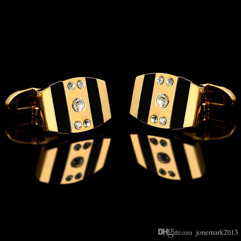 2016 Fransız gömlek Moda mens için Mens Altın Kol Düğmeleri manşet bağlantılar Lüks Weddin Düğmeler Yüksek Kalite Kristal Hediye