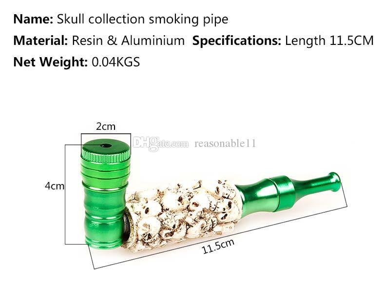 Tuyaux en aluminium de résine de tête de tête de crâne de résine pour tabacoo avec le filtre de lave à l'intérieur de quatre couleurs exportent la qualité produit