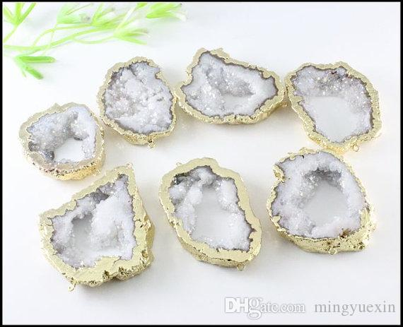 Druzy Geode Quartz Druzy Stone Connector,White AB Crystal Drusy gemstone Connector ,Gemstone Pendant Beads Jewelry Findings