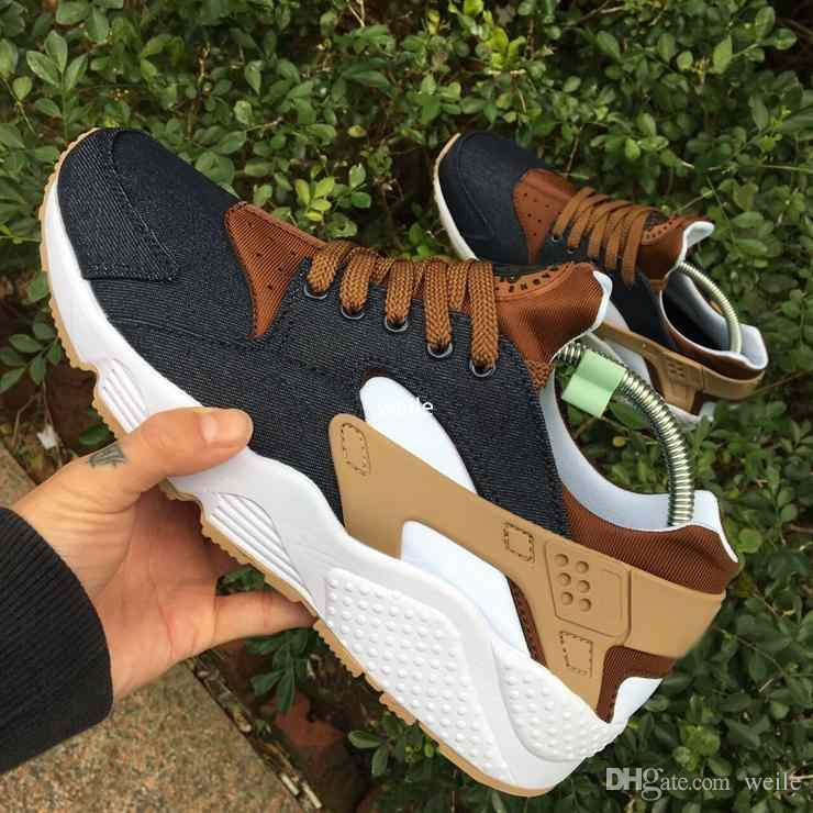 2017 Fashion Huarache ID Custom Breathe Running Shoes For Men Women,Mens Navy Blue Tan Denim Air Huaraches Multicolor Huraches Sneakers