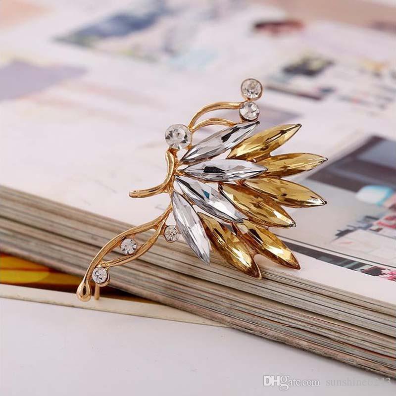 كريستال S925 الفضة الأذن الكفة أقراط الكورية فراشة الأذن كليب القرط للنساء فتاة الحب الأصفاد الأذن مشبك المجوهرات المجوهرات