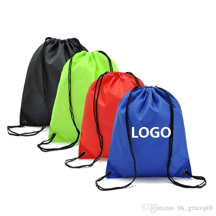 ccb1815bf7 2019 Customize Polyester Drawstring Backpack Bags Print LOGO Waterproof  Drawstring Shopping Storage Bags On Stock Wholesale Customization From  Hk gracegift