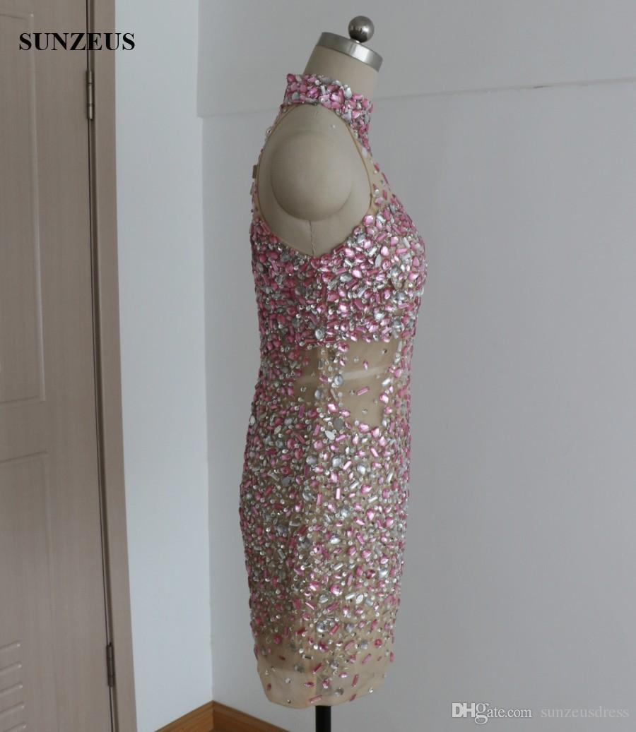 Sexy Sheath Short Cocktail Dress Rhinestones Sequins Beaded Party Gowns For Girls High Neck See Through Prom Wear