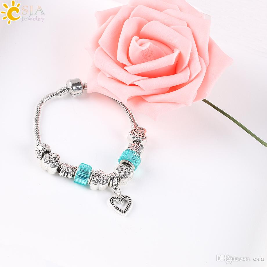 CSJA Friendship Chain Women Pink Bangle Charm Bracelets Antique Silver Plate Love Heart Pendant Butterfly Beaded Jewelry E140