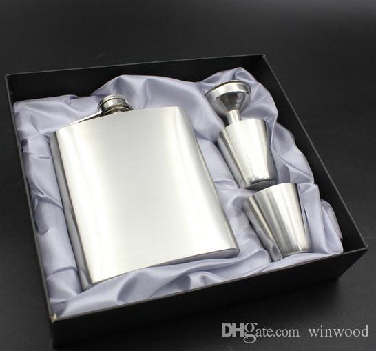 Flachmann 7oz Luxus Edelstahl Flachmann Sets Whisky Alkohol Schnaps Weinflasche Trinkbecher mit Geschenkbox Tassen Trichter Trinkgeschirr