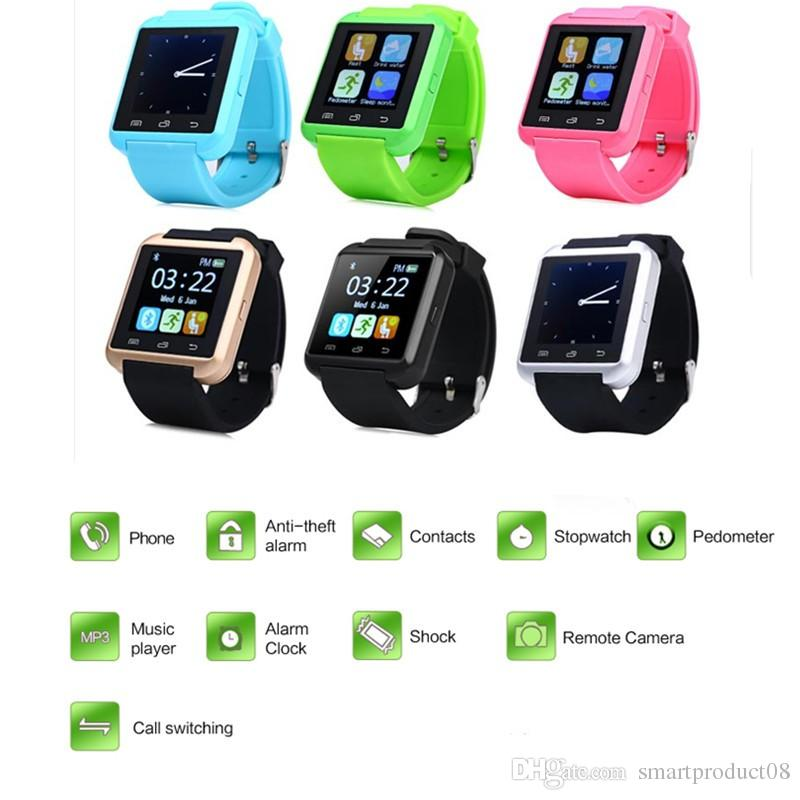 Smart Bluetooth Watch Orologio da polso sportivo digitale U8 u orologi Android Samsung telefono / Note dispositivo indossabile di alta qualità