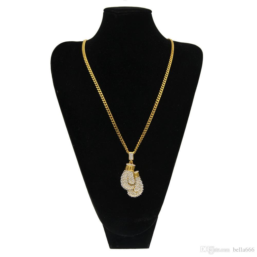 Мужские золотые боксерские перчатки подвески из нержавеющей стали золотой цвет обледенел горный хрусталь кулон ожерелья высокого класса кубинская цепь хип-хоп панк ювелирные изделия