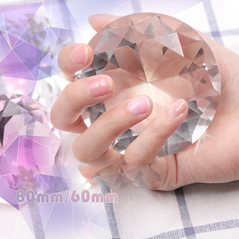 Nail Art Display 60mm 80mm Transparent Glass Crystal Diamond Hand ...