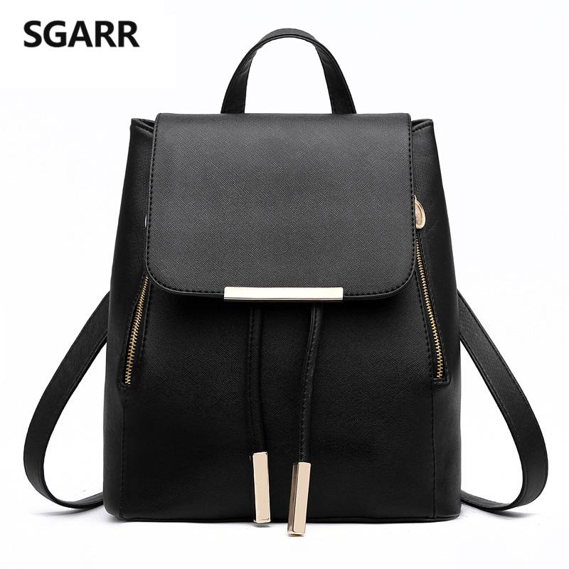 Wholesale SGARR Women Backpacks Solid Fashion School Bag For Teenage Girls  High Quality PU Leather Vintage Waterproof Backpack Travel Bags Small  Backpack ... bde64972350f6