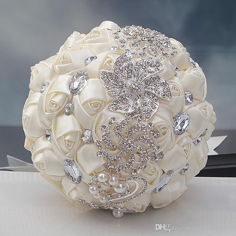 Sparkly Rhinestones Bridal Bouquet Rose Artificial Color Mixture ...