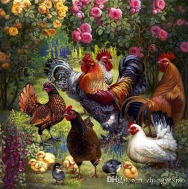 5D needlework Diy diamond painting cross stitch kits full resin square diamond embroidery Mosaic Home Decor animal Cock zf0203