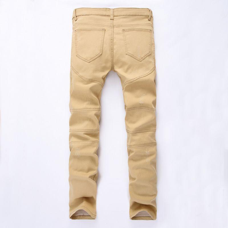 New Hot Fashion 2017 fermetures à glissière skinny slim fit mens Distressed justin bieber coton kaki Denim jeans hommes jean