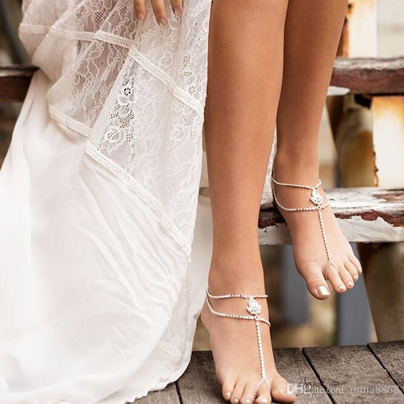 1 STÜCK Böhmen Elegante Barfuß Sandalen mit Zehenring Fußkettchen Armband Kette Strand Hochzeit Fußschmuck Fußkettchen für Frauen und Mädchen